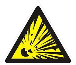 """Пожарный знак """"Взрывоопасно: взрывоопасная среда"""""""